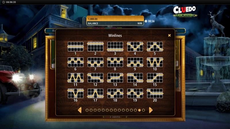 Cluedo Cash Mystery :: Paylines 1-20
