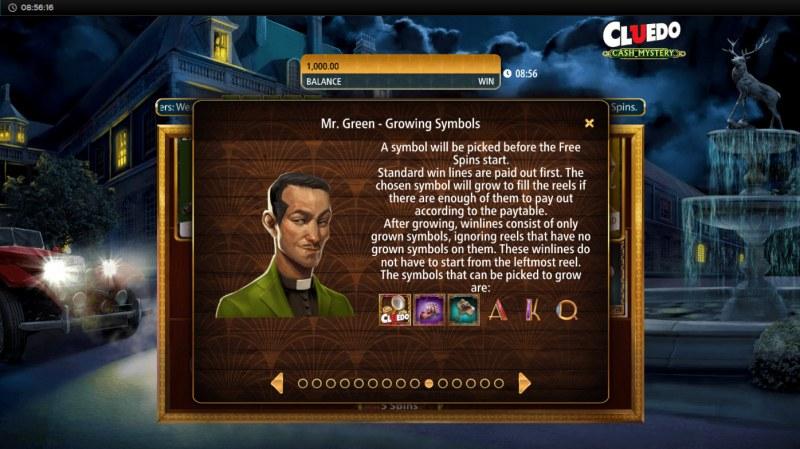 Cluedo Cash Mystery :: Mr. Green Growing Symbols