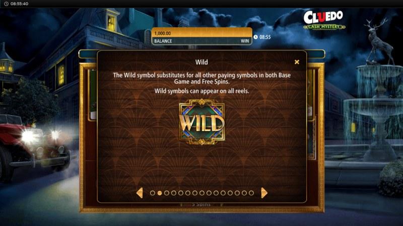Cluedo Cash Mystery :: Wild Symbol Rules