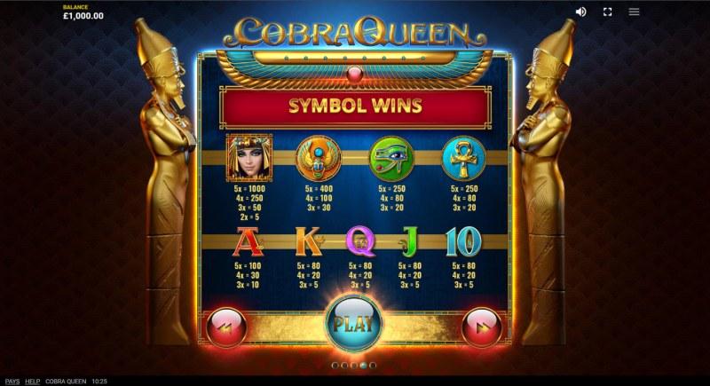 Cobra Queen :: Paytable