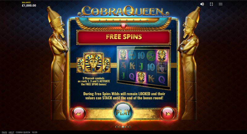 Cobra Queen :: Free Spin Feature Rules