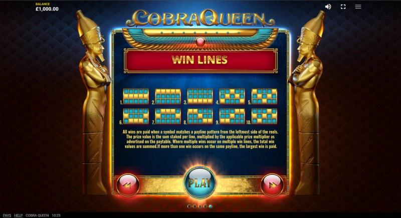 Cobra Queen :: Paylines 1-10