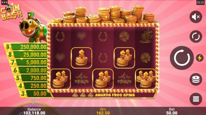 Coin Bash :: A five of a kind win