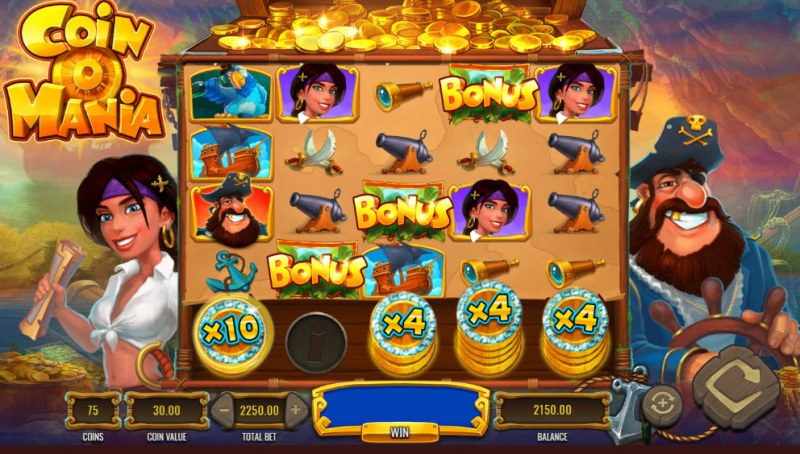 Coin O Mania :: Scatter symbols triggers the free spins bonus feature