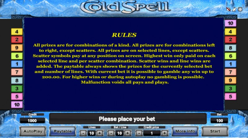Cold Spell :: General Game Rules