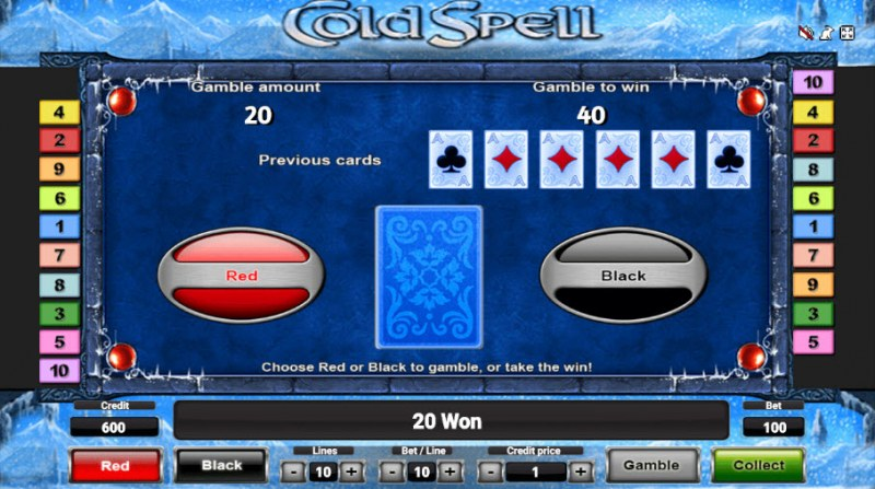 Cold Spell :: Black or Red Gamble Feature