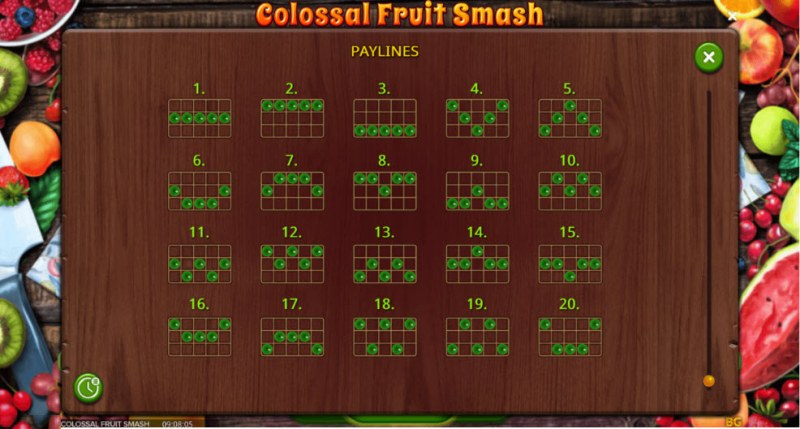 Colossal Fruit Smash :: Paylines 1-20