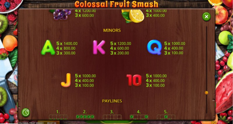 Colossal Fruit Smash :: Paytable - Low Value Symbols