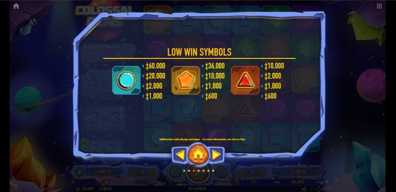 Colossal Gems :: Paytable - Low Value Symbols