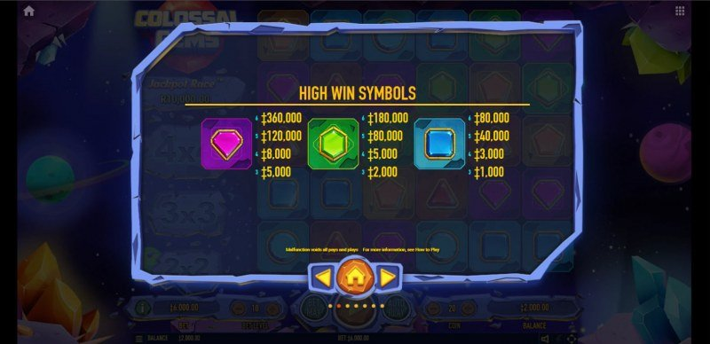 Colossal Gems :: Paytable - High Value Symbols