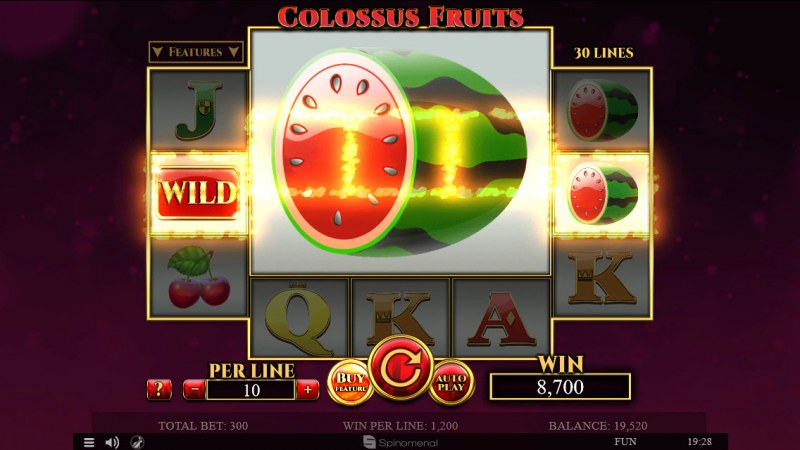 Colossus Fruits :: Mega symbol triggers multiple winning pay lines