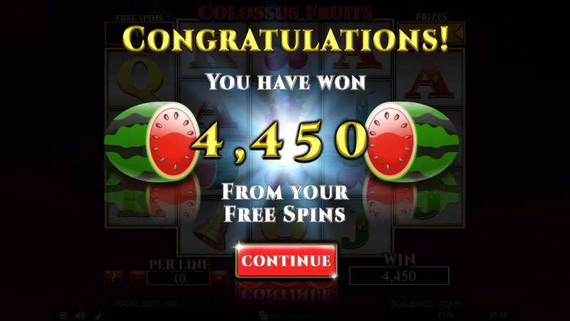 Colossus Fruits :: Total free spins payout