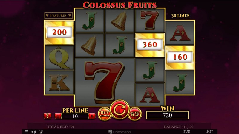 Colossus Fruits :: Scatter symbols triggers bonus feature