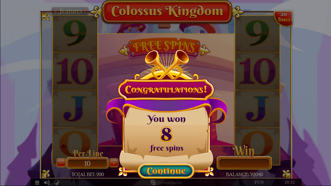 Colossus Kingdom :: Scatter symbols triggers the free spins feature