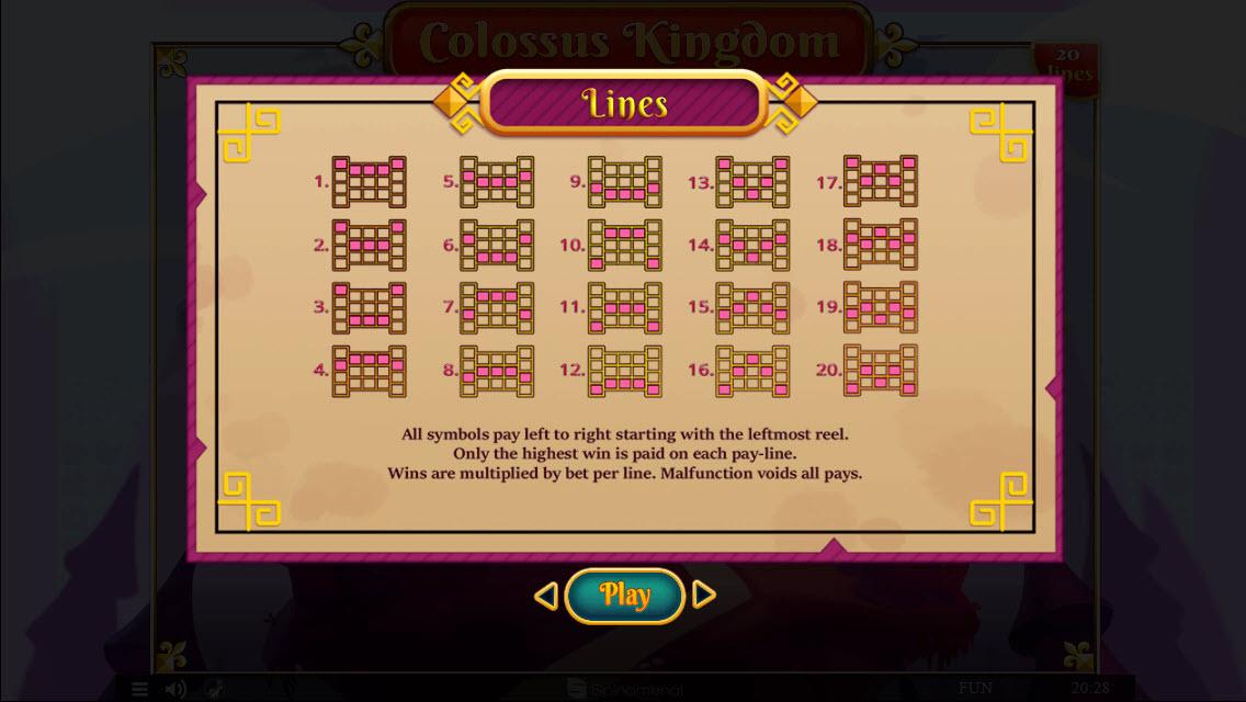 Colossus Kingdom :: Paylines 1-20