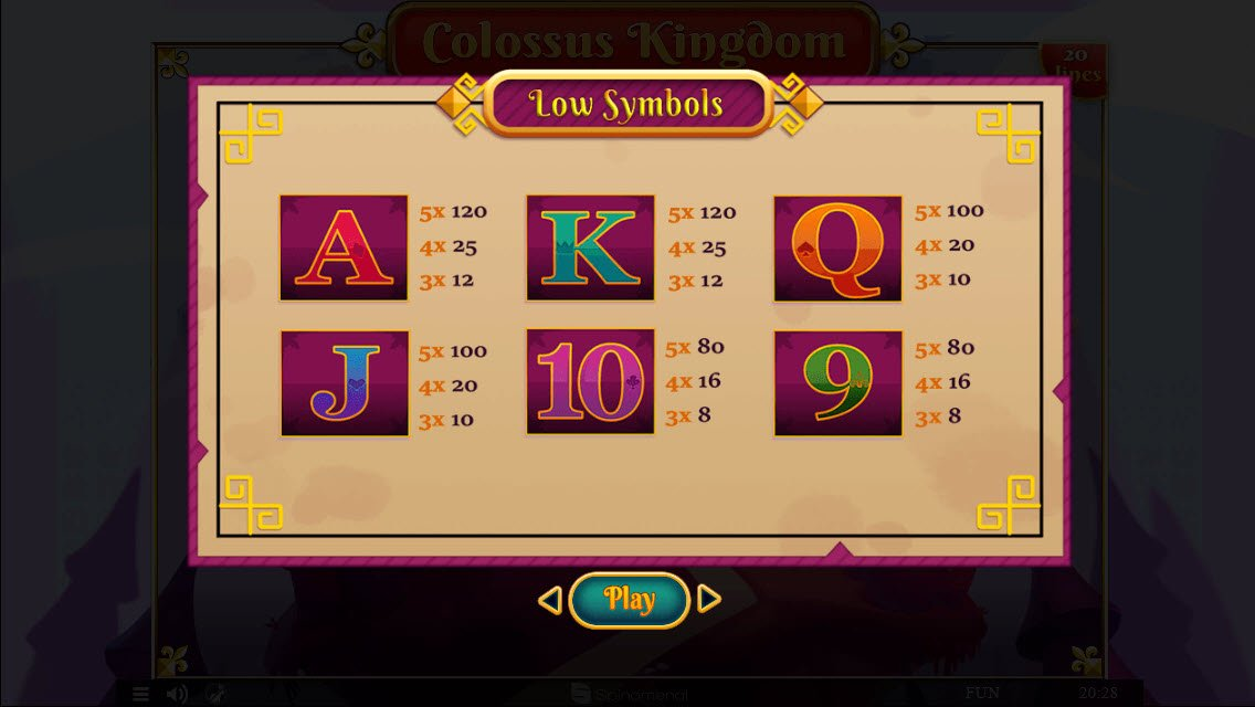 Colossus Kingdom :: Paytable - Low Value Symbols