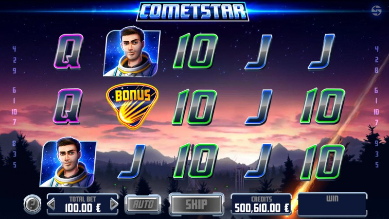 CometStar :: Landing bonus symbol anywhere on reels 2, 3 or 4 activates expanded wild respin