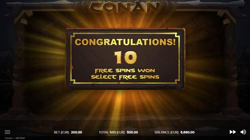 Conan :: 10 Free Spins Awarded