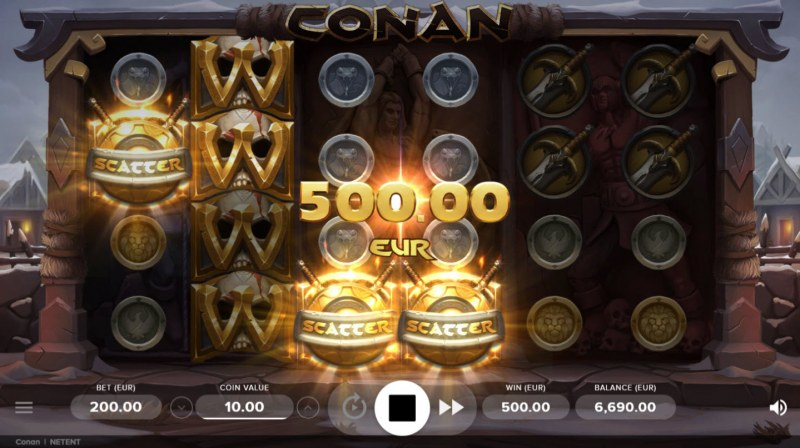 Conan :: Scatter symbols triggers the free spins feature