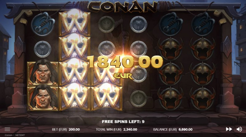 Conan :: Stacked wild symbols triggers multiple winning paylines
