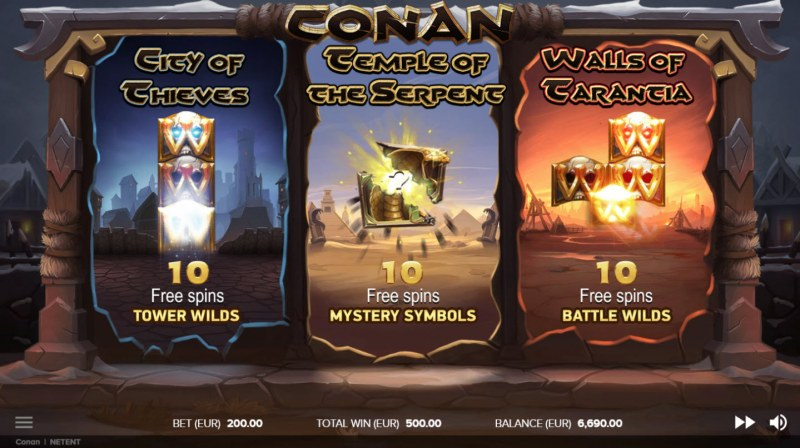 Conan :: Select your free spins feature to play