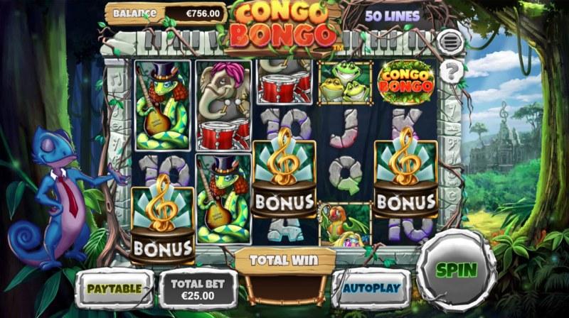 Congo Bongo :: Scatter symbols triggers bonus feature
