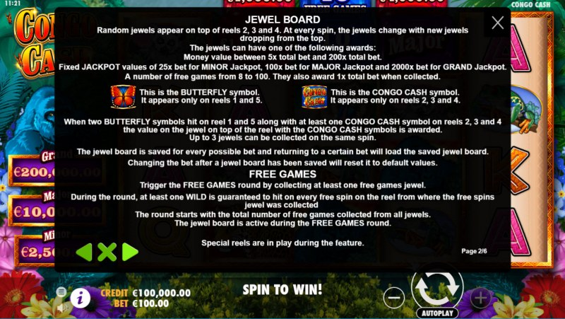 Congo Cash :: Jewel Board and Free Spins Rules