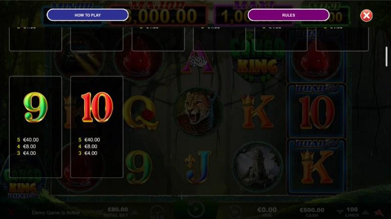 Congo King Quad Shot :: Paytable - Low Value Symbols