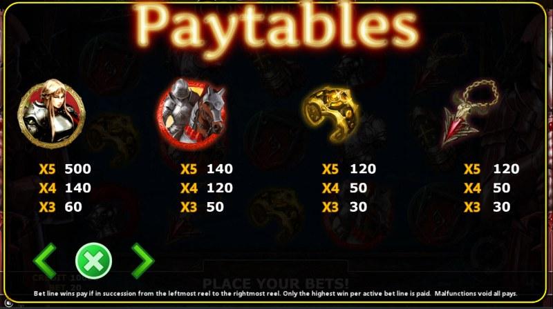 Conqueror :: Paytable - High Value Symbols