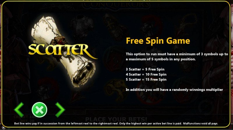 Conqueror :: Free Spins Rules