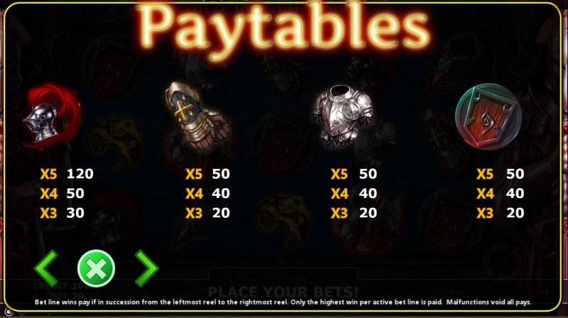Conqueror :: Paytable - Low Value Symbols
