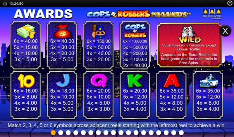 Cops N Robbers Megaways :: Paytable