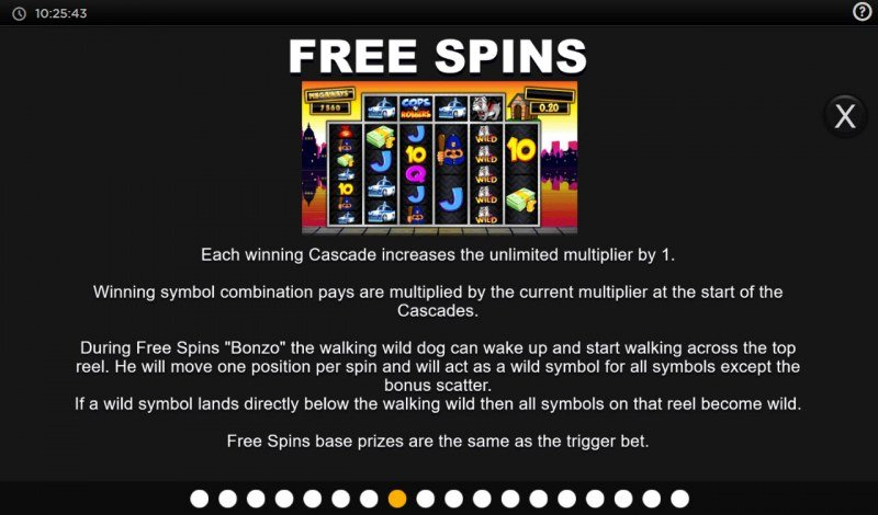 Cops N Robbers Megaways :: Free Spin Feature Rules