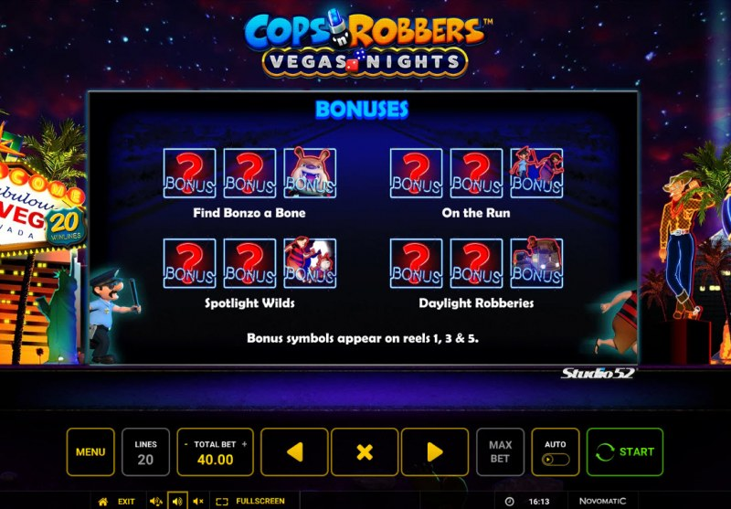 Cops & Robbers Vegas Nights :: Scatter Symbol Rules