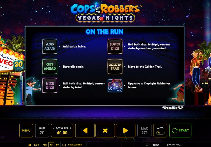 Cops & Robbers Vegas Nights :: Free Spin Feature Rules