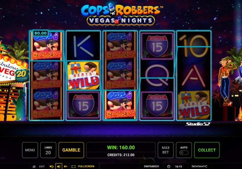 Cops & Robbers Vegas Nights :: Multiple winning combinations lead to a big win