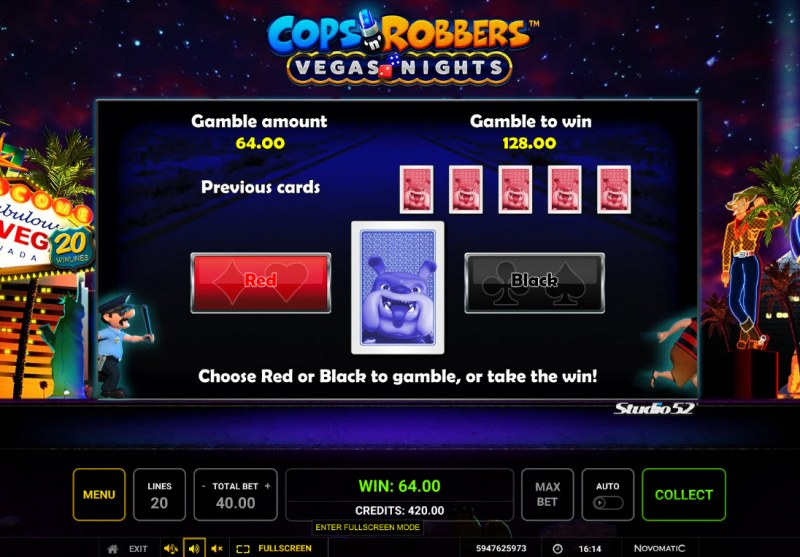 Cops & Robbers Vegas Nights :: Red or Black Gamble Feature