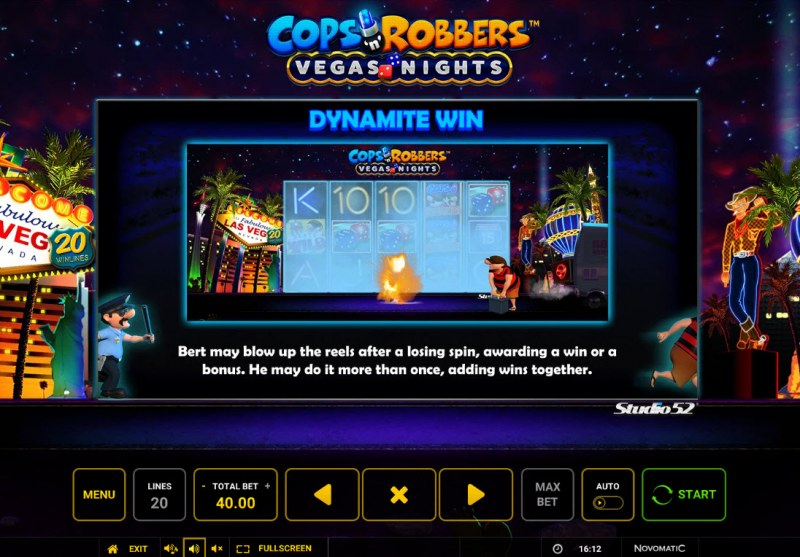 Cops & Robbers Vegas Nights :: Dynamite Win Feature