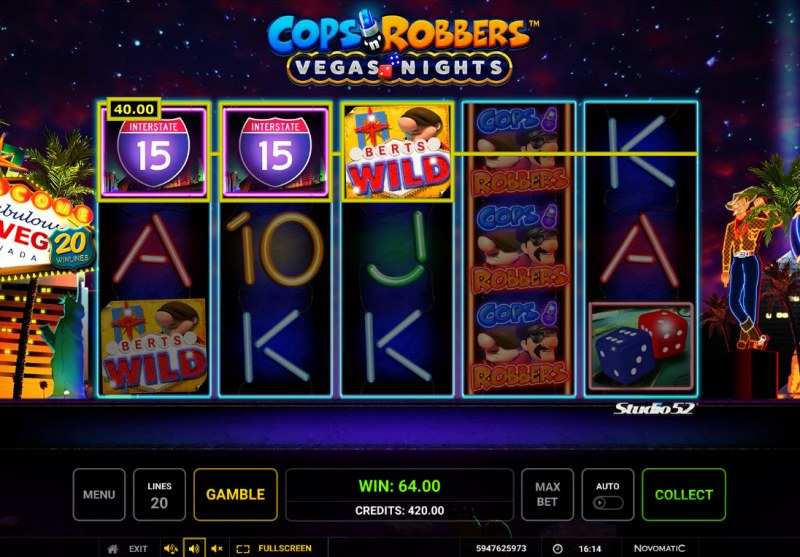 Cops & Robbers Vegas Nights :: A three of a kind win