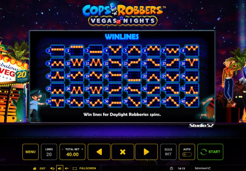 Cops & Robbers Vegas Nights :: Feature Paylines