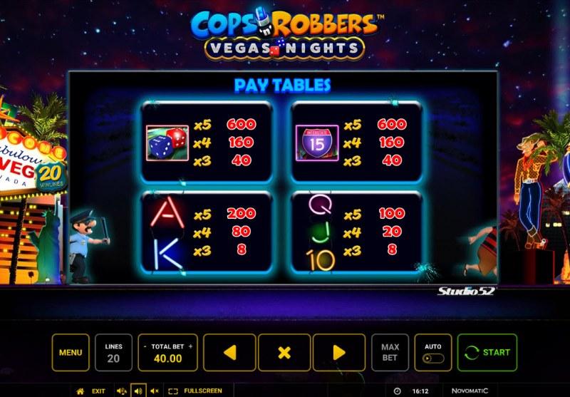 Cops & Robbers Vegas Nights :: Paytable