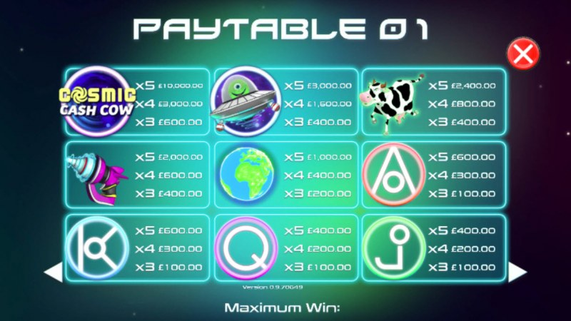 Cosmic Cash Cow :: Paytable