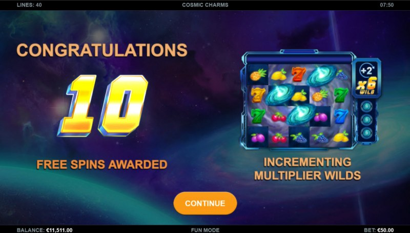Cosmic Charms :: 10 free spins awarded