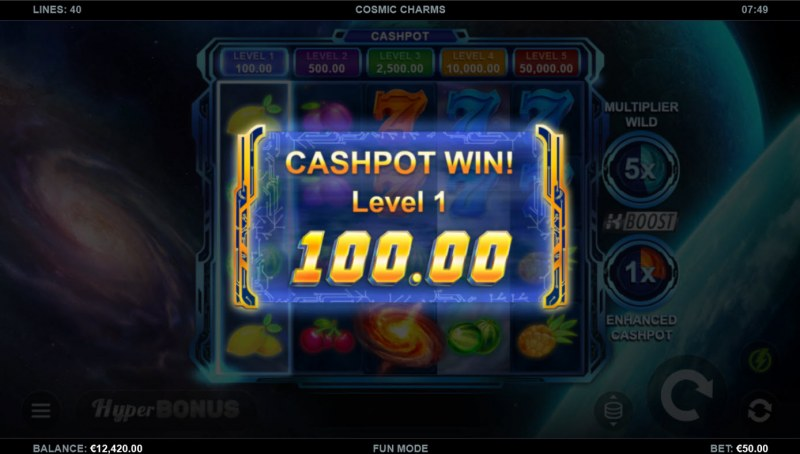 Cosmic Charms :: Cashpot awarded