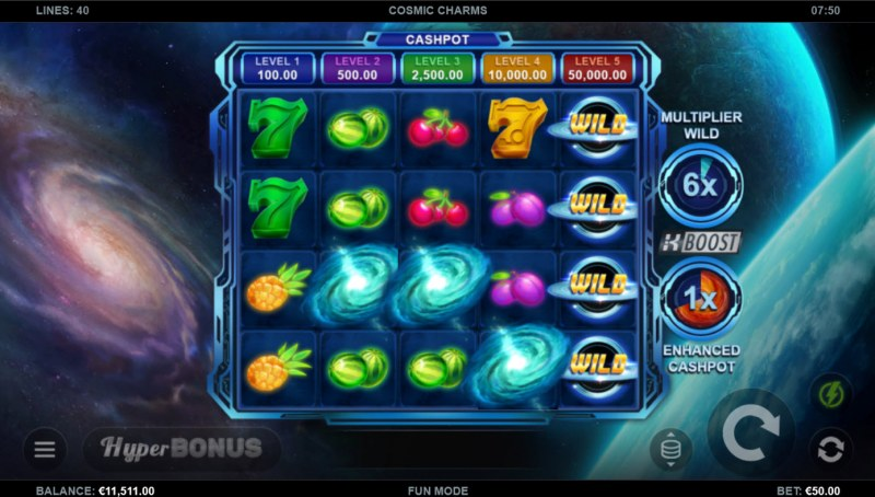 Cosmic Charms :: Scatter symbols triggers the free spins bonus feature