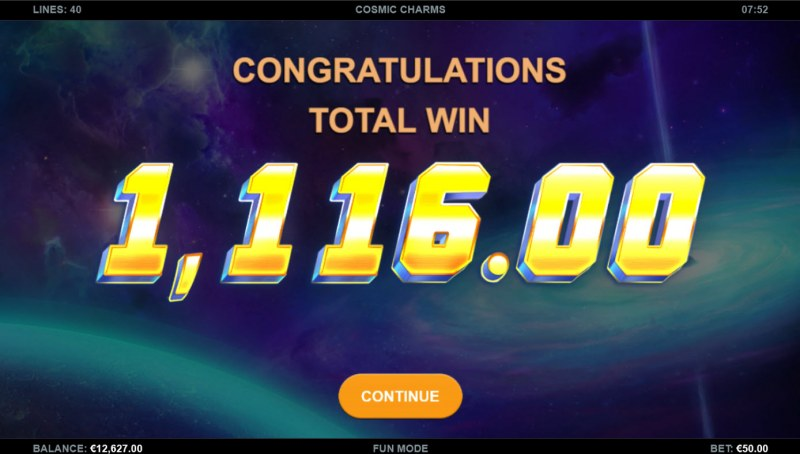 Cosmic Charms :: Total Free Spins Payout