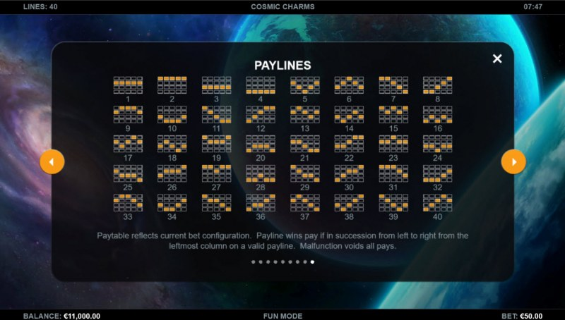 Cosmic Charms :: Paylines 1-40