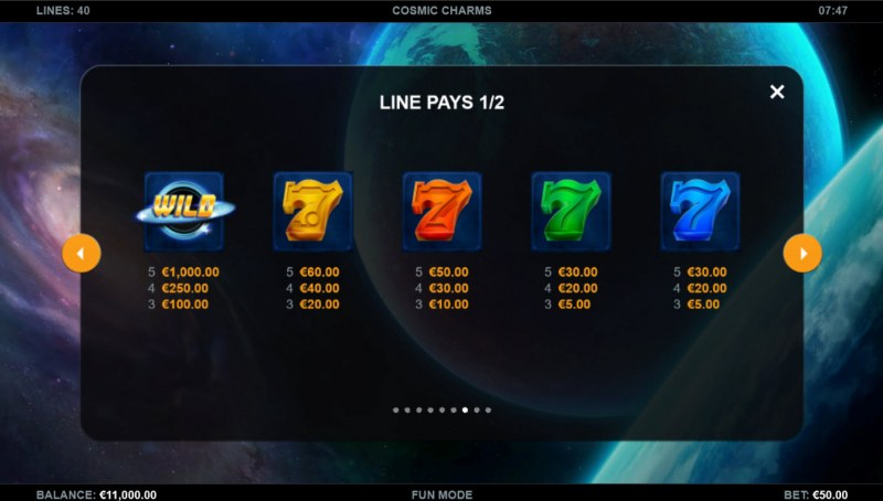 Cosmic Charms :: Paytable - High Value Symbols