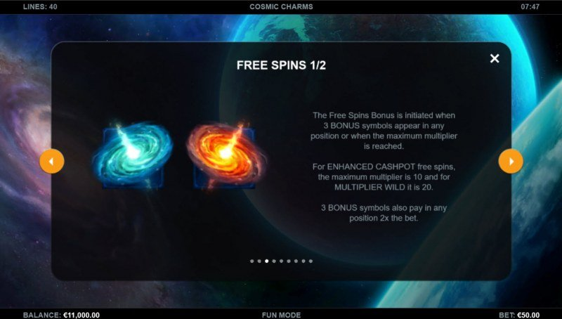 Cosmic Charms :: Free Spin Feature Rules