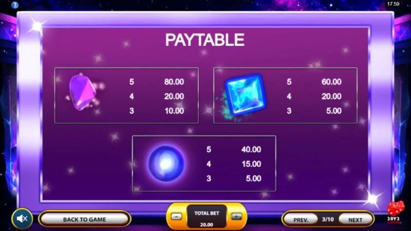 Cosmic Gems :: Paytable - Medium Value Symbols